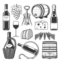 winemaking winery and wine production icons vector image