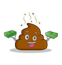 With money poop emoticon character cartoon vector