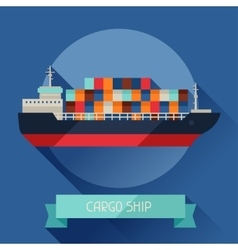 Cargo ship icon on background in flat design style vector image vector image