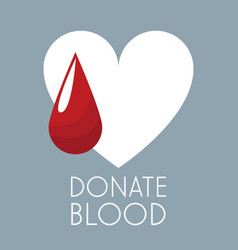 donate blood white heart and drop vector image vector image