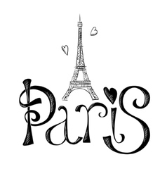 Hand drawn with Eiffel tower Paris vector image