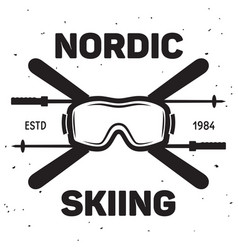 label of ski club vintage mountain winter badge vector image
