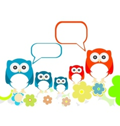owls family speech in love on a flowery landscapes vector image vector image