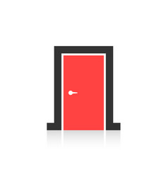 red closed door icon isolated on white background vector image vector image