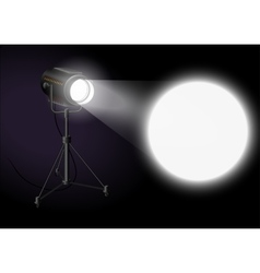 Spotlight shines bright spot on the wall vector