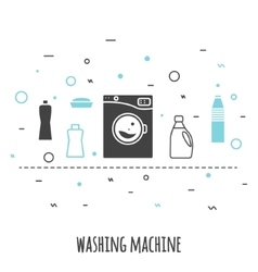 Washing machine in flat line style Outline vector image vector image