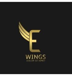 Wings E letter logo vector image