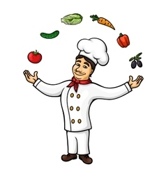 Cartoon italian chef juggling vegetables fruits vector image
