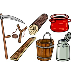 country objects cartoon set vector image