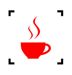 cup of coffee sign red icon inside black vector image