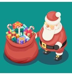 Gifts Bag Cute Isometric 3d Christmas Santa Claus vector image vector image