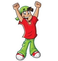 Happy Cheering Boy vector image