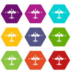 military fighter aircraft icon set color vector image
