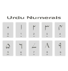 Set of monochrome icons with urdu numerals vector image vector image