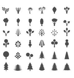tree silhouette set vector image