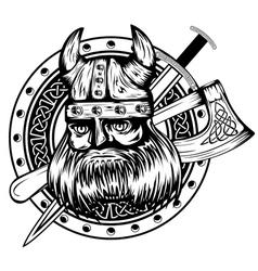 viking board sword and axe vector image vector image