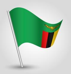 zambian flag on pole vector image vector image