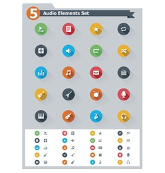 Flat audio icon set vector image vector image