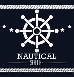 icon nautical timon boat label isolated vector image