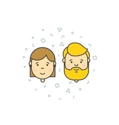 man woman user icons vector image