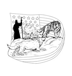 sheepdog defend lamb from wolf drawing vector image vector image