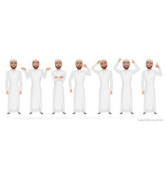 muslim arab man character set of emotions vector image vector image