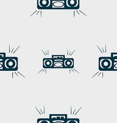 Radio cassette player icon sign Seamless pattern vector image vector image