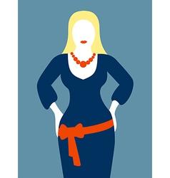 Slim woman in blue dress vector