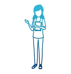 young woman student cartoon vector image