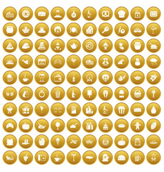 100 bounty icons set gold vector