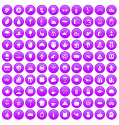 100 bounty icons set purple vector