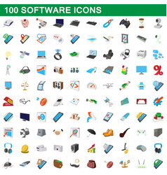 100 software icons set cartoon style vector