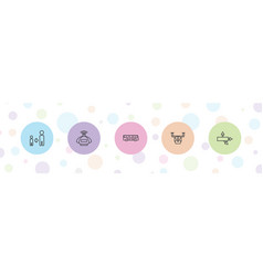 5 square icons vector
