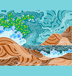 Abstract beach doodle scene vector