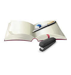 An open notebook with a stapler a pen and an vector image