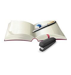 An open notebook with a stapler a pen vector