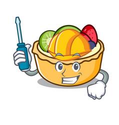 Automotive fruit tart mascot cartoon vector