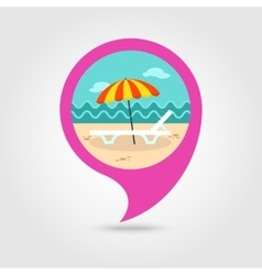 Beach chaise lounge with umbrella pin map icon vector