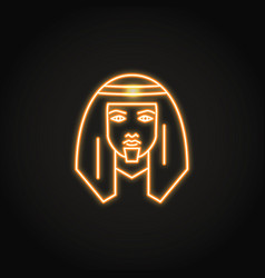 Bedouin man icon in glowing neon style vector