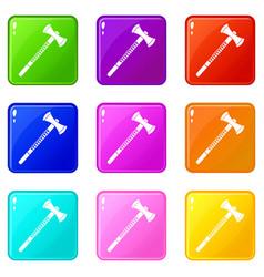 Big ax icons 9 set vector