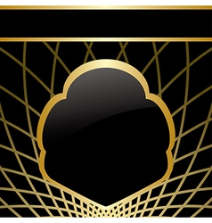 black and gold background with frame in center vector image