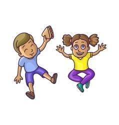 Boy and girl sitting on floor top veiw vector image