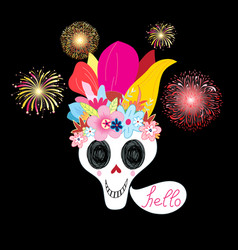 Bright multicolored with a bouquet skulls vector