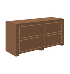 Brown bedside table with drawersnightstand next vector