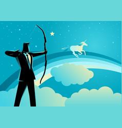 Businessman aiming a unicorn vector