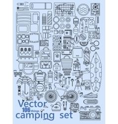 Camping set icons vector