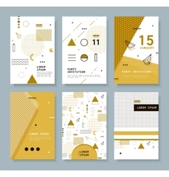 Cards with Geometric Elements Memphis vector image