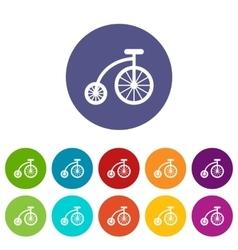Children bicycle set icons vector