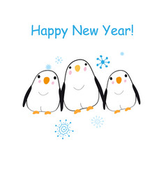 christmas bright card with funny penguins vector image