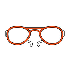 Color silhouette image fashion glasses with orange vector